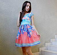 """Мини платье """"беби долл"""" молодежное коктейльное нарядное вечернее розовый-голубой-бирюза на выпускной свадьбу 40 (L)"""