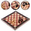 Шахматы, шашки, нарды 3 в 1 деревянные с магнитом Zelart, фигуры-дерево, р-р 34x34см. (ZC034A)