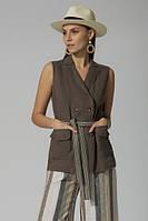 Оригинальный летний женский жилет-блуза из льна ЛЮКС-качество удлинненный светло-коричневый офисный легкий