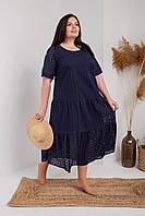 Женское летнее платье свободного силуэта  длинной миди