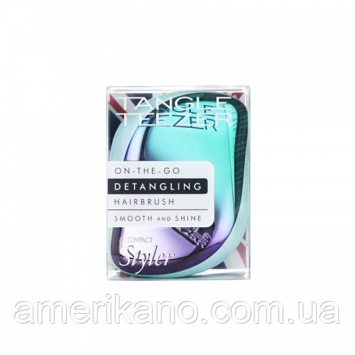Расческа для волос Tangle Teezer Compact Styler компактная с крышкой Petrol Blue Ombre, голубой хром