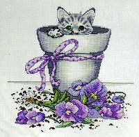 Набор для вышивания  Design Works 2545 Flowerpot Kitty