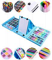 Набор для рисования с мольбертом Art Set AmazeCat в чемоданчике (176 предметов) голубой