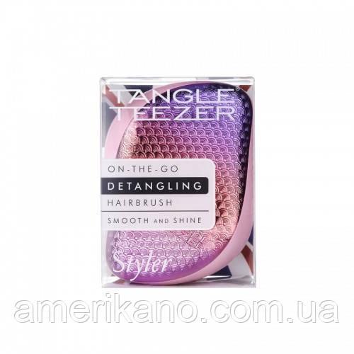 Гребінець для волосся Tangle Teezer Compact Styler компактна з кришкою Sunset Pink, білий/рожевий хром