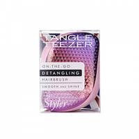 Расческа для волос Tangle Teezer Compact Styler компактная с крышкой Sunset Pink, сиреневый/розовый хром