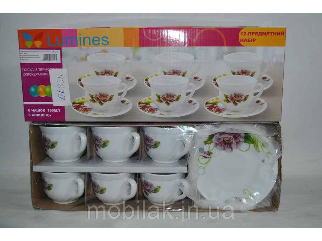 Сервiз чайний 12пр. Бузковий піон 6616 (чашка 190мл)(cклокераміка) ТМLUMINES