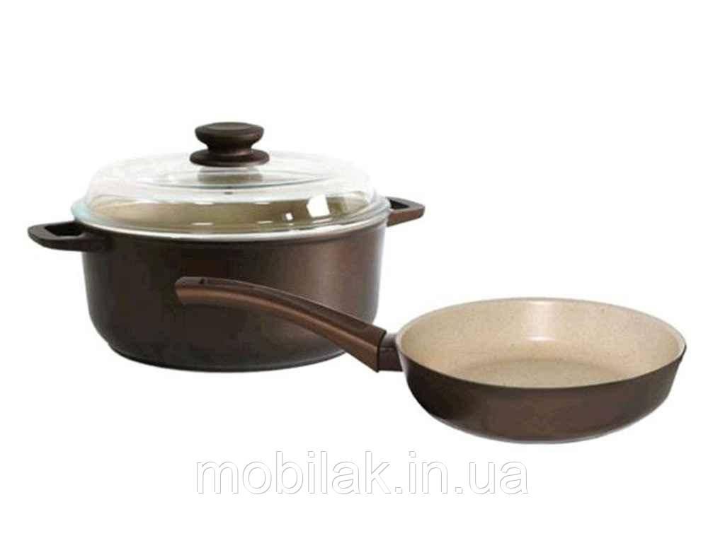 Набір посуду «Моко».(М24PС/М24ПС) Сковорода і каструля зі скл.кр ТМБИОЛ