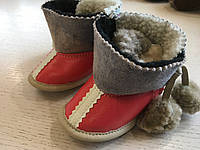 Пінетки чобітки зимові дитячі шкіряні  ручної роботи 14 см, фото 1