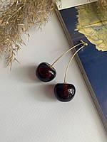 Оригинальные женские серьги черешни вишни бордо