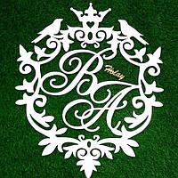 Топ! Свадебный деревянный Герб 50х50 см №1, Белый