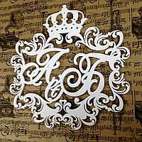 Топ! Деревянный Свадебный Вензель с инициалами 50х50 см №16, Белый