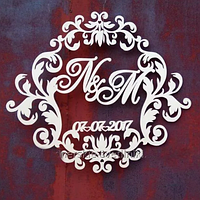 Топ! Свадебный деревянный герб с датой 50х50 см №23, Белый