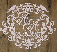 Топ! Красивый деревянный герб на Свадьбу 50х50 см №24, Белый
