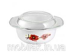 Кастрюля з скляною кришкою 1л Червоний мак 30050-0994 ТМSNT
