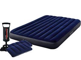 Надувной матрас Classic Downy Airbed Fiber-Tech, 152х203х25см с подушками и насосом 64765