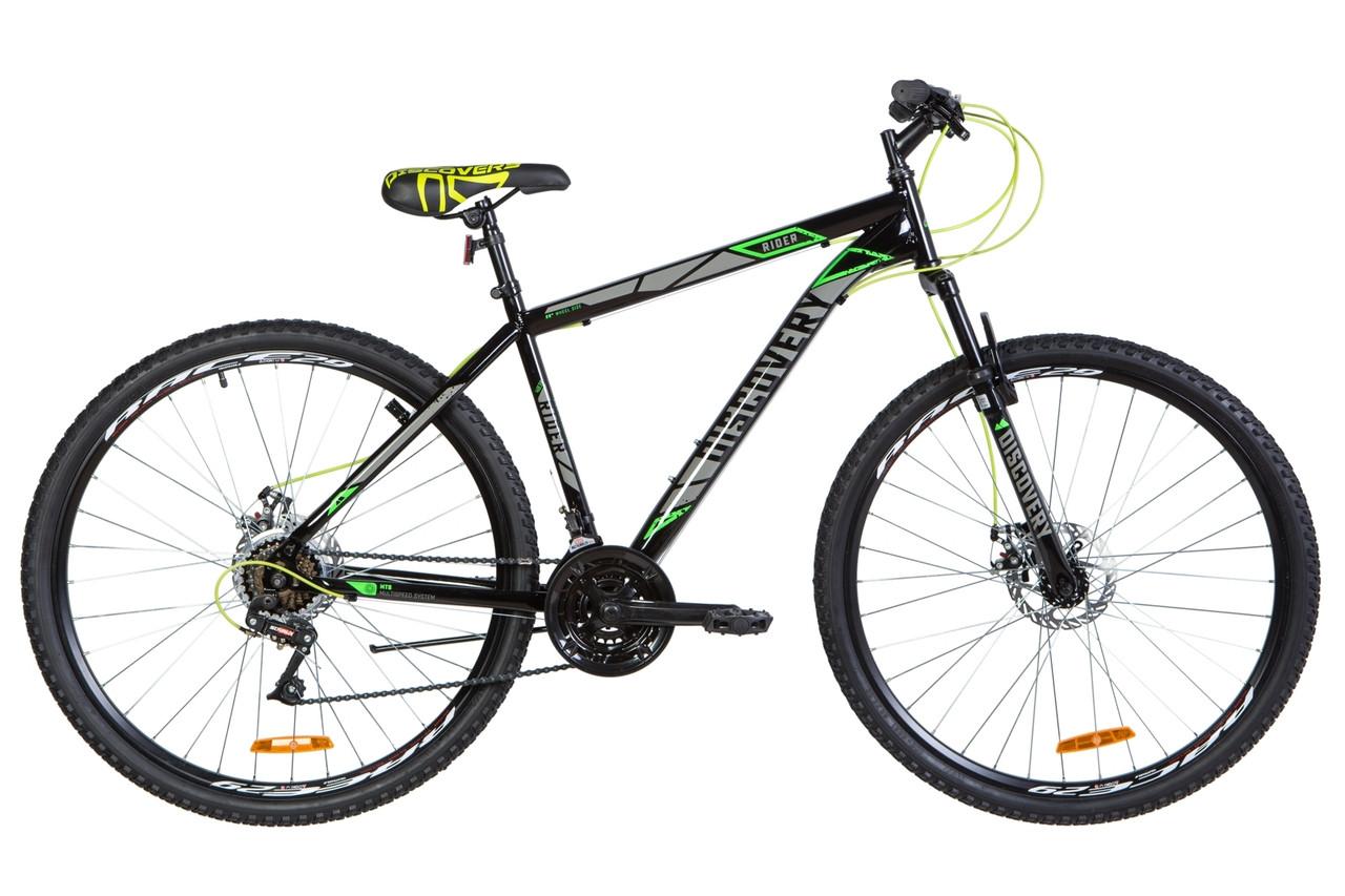 """Велосипед горный 29"""" Discovery Rider AM DD 2020 черно-серый с зеленым"""