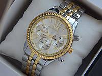 Женские (Мужские) кварцевые наручные часы Michael Kors на металлическом ремешке с римскими цифрами, фото 1