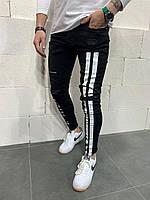 Джинсы мужские чёрные узкие рванные с белыми надписями и надписью потертые зауженные 31,36 размер