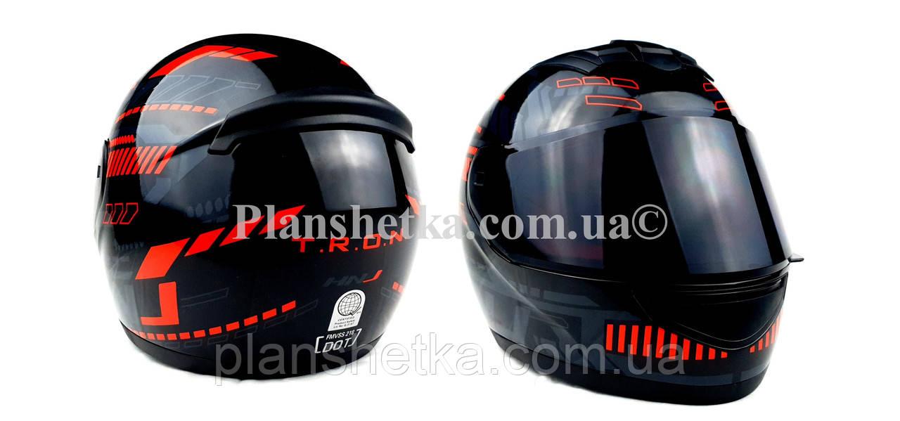 Шлем для мотоциклов Hel-Met 902 закрытый черный с красным ( тонированое стекло) размер L