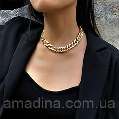 Крупная женская цепочка золотая металлическая, массивное колье