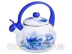 Чайник емальований зі свистком 2,2л Орхідея 09С003810L BLUE HANDLE ТМZAUBERG