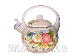 Чайник емальований зі свистком 2,2л Троянда 8/L WHITE HANDLE ТМZAUBERG