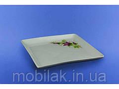 Тарілка Квадрат для суши біла з деколью, 19 см. ТМАВАНГАРД