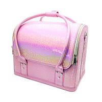 Сумка-чемодан для мастеров визажа, маникюра, парикмахера. Розовый хамелеон