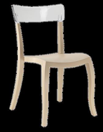 Стул Papatya Hera-S бежевое сиденье, верх прозрачно-чистый, фото 2