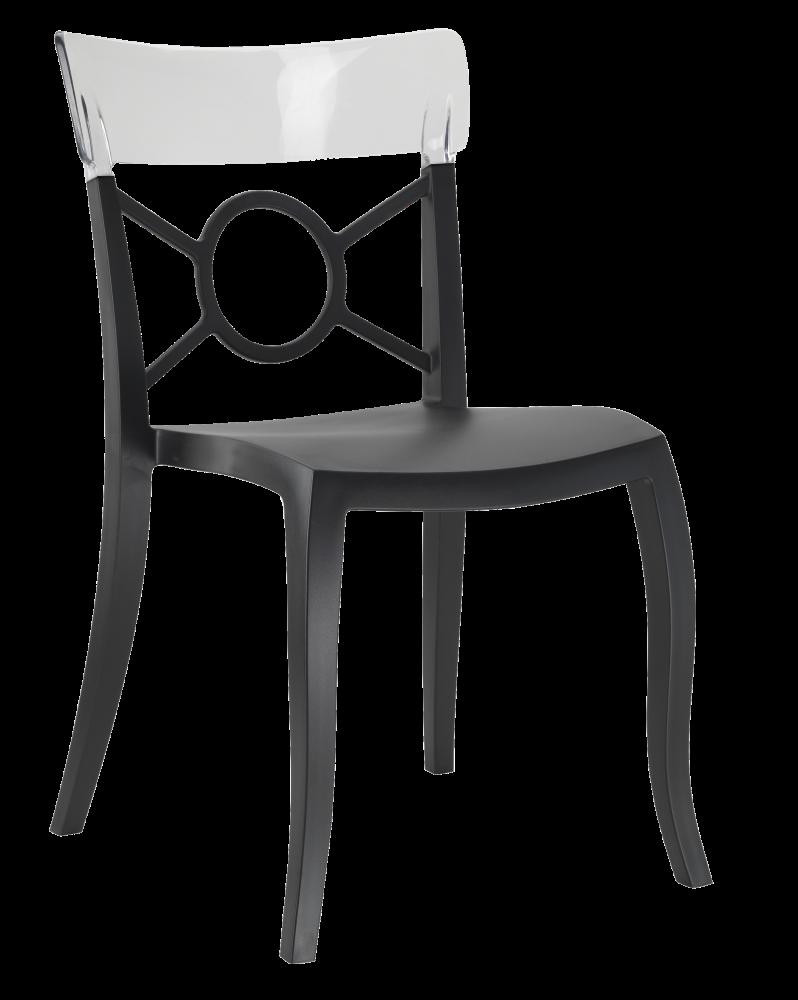 Стул Papatya Opera-S сиденье черное, верх прозрачно-чистый