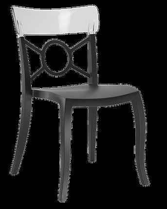 Стул Papatya Opera-S сиденье черное, верх прозрачно-чистый, фото 2