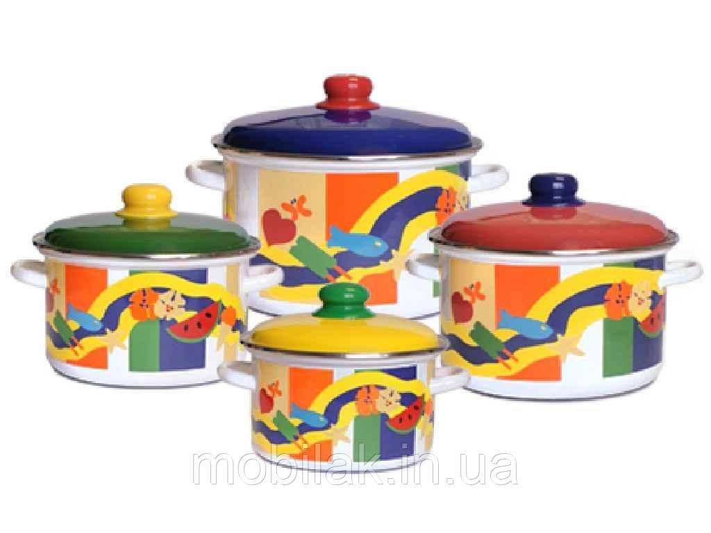 Набір емальованого посуду 4 предмети Літній час 2-424/7 ТМЕМАЛЬ