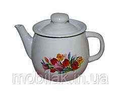 Чайник емальований 1,0л/3 Весняний букет рожевий (I2707/3) ТМIDILIA