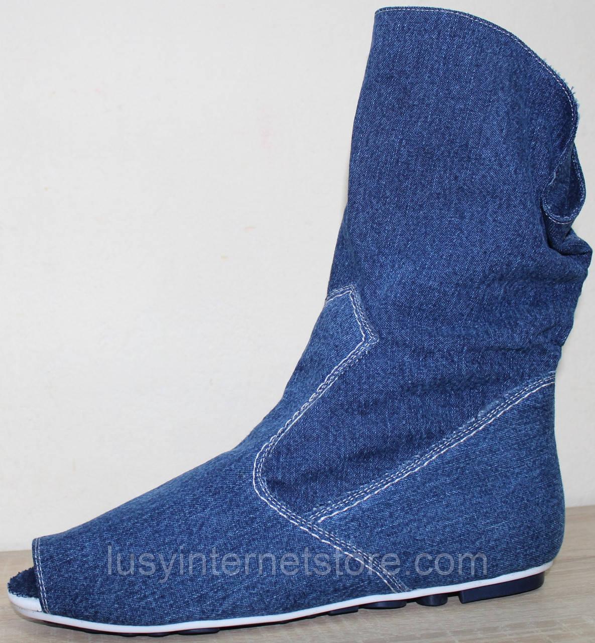 Летние сапоги женские джинсовые больших размеров от производителя модель МИ4067-6Р
