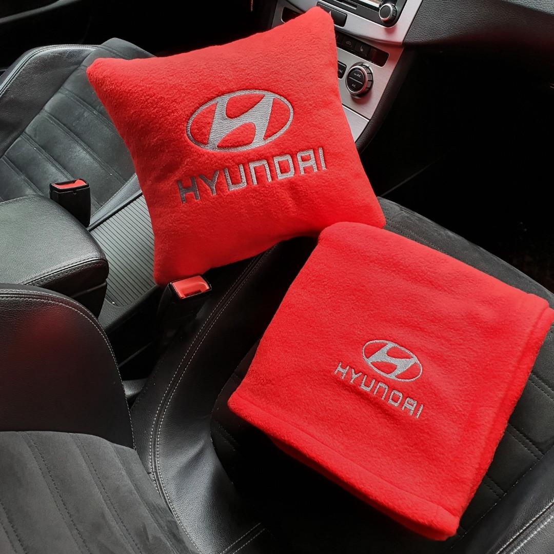 """Автомобільний набір: подушка і плед з логотипом """"Hyundai"""" колір на вибір"""