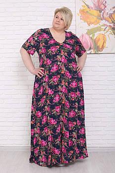 / Размер 48-70 / Женское летнее платье легкое Летний бриз / розовые цветы на синем