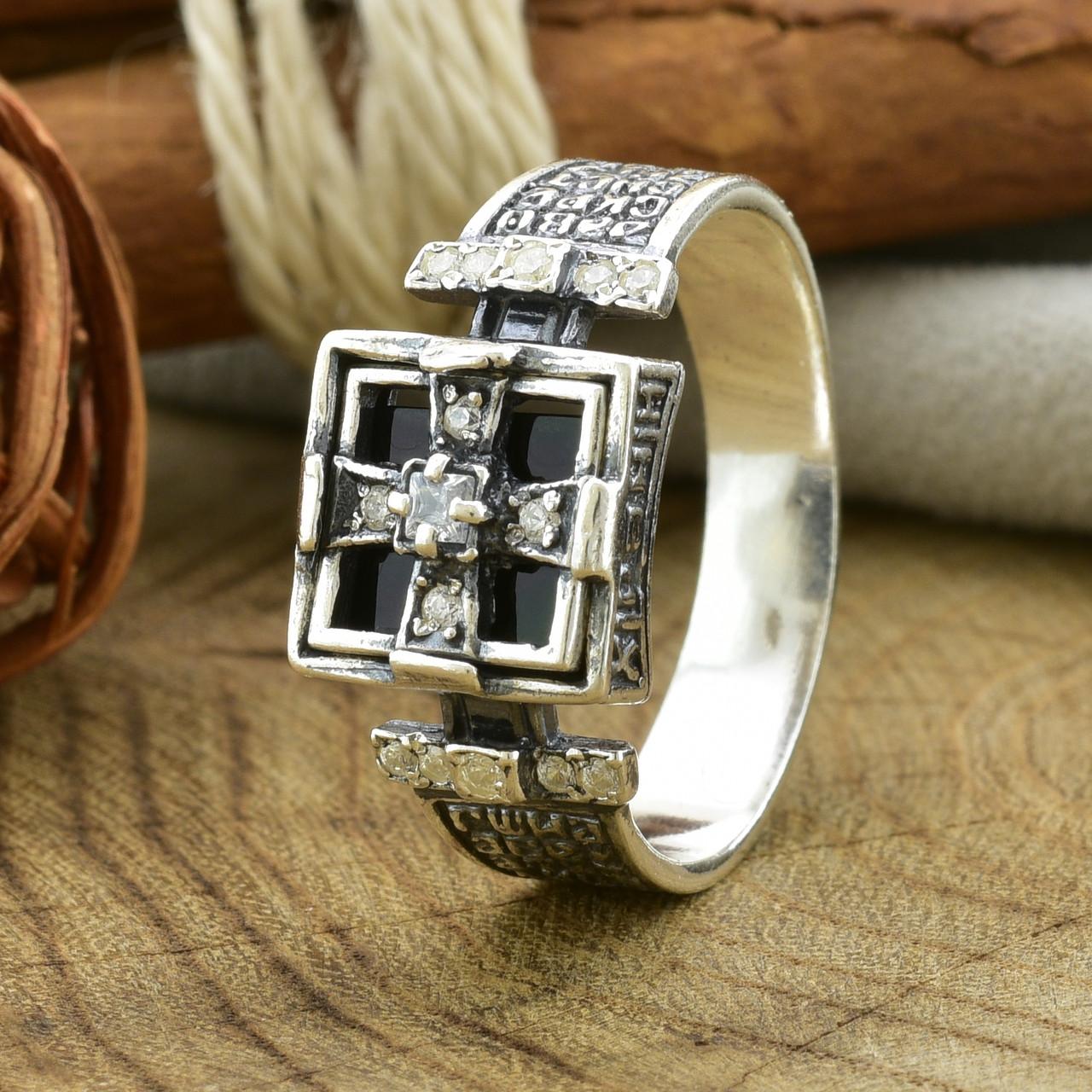 Серебряное кольцо Перстень с молитвой вставка белые фианиты вес 4.76 г размер 18.5