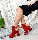 Женские босоножки красные, натуральная замша, фото 2