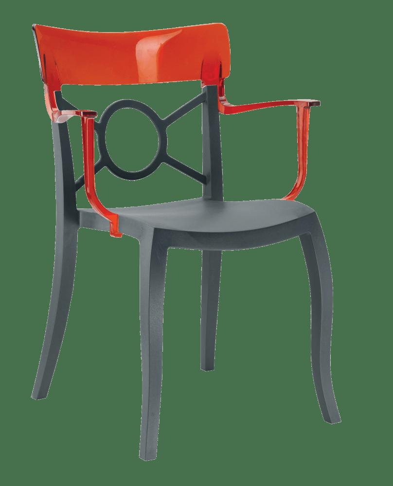 Кресло Papatya Opera-K сиденье антрацит, верх прозрачно-красный