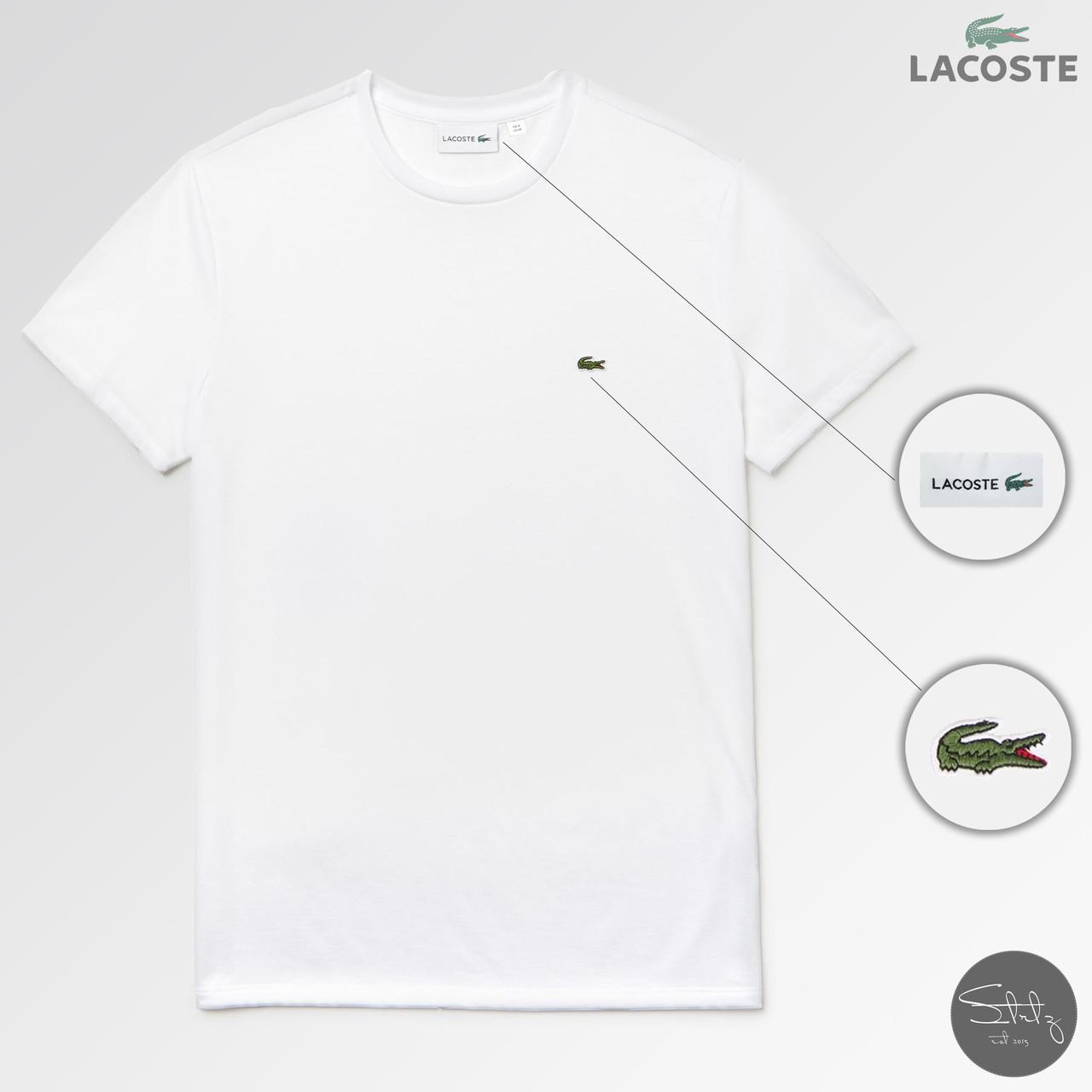 Мужская футболка Lacoste (реплика) лето. Цвет: белый