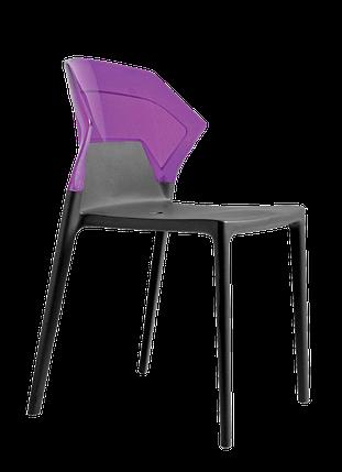 Стул Papatya Ego-S антрацит сиденье, верх прозрачно-пурпурный, фото 2