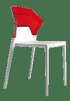 Стул Papatya Ego-S белое сиденье, верх прозрачно-красный