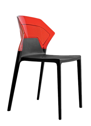 Стул Papatya Ego-S черное сиденье, верх прозрачно-красный, фото 2