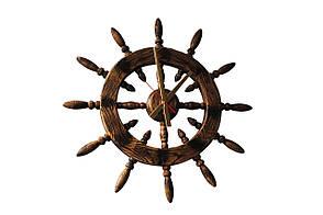 """Часы настенные """" Штурвал"""" цвет дерева - состаренный темный. (диаметр 750 мм )"""