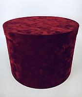 Шляпна коробка Велюрова(бархатна коробка) h22/d30, фото 1