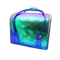 Сумка-чемодан для мастеров визажа, маникюра, парикмахера. Синий хамелеон