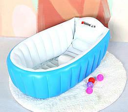 Надувная ванночка Intime Baby Bath Tub с насосом голубая, фото 2