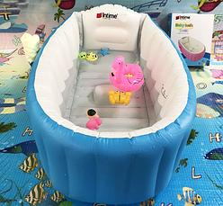 Надувная ванночка Intime Baby Bath Tub с насосом голубая, фото 3