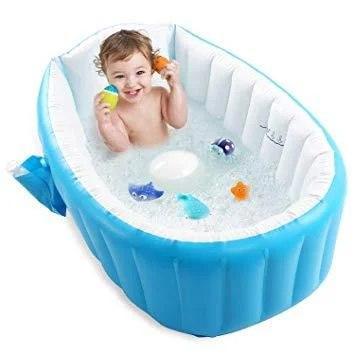 Надувная ванночка Intime Baby Bath Tub с насосом голубая