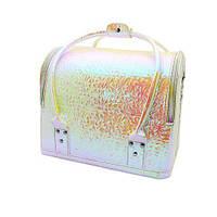 Сумка-чемодан для мастеров визажа, маникюра, парикмахера. Белый хамелеон